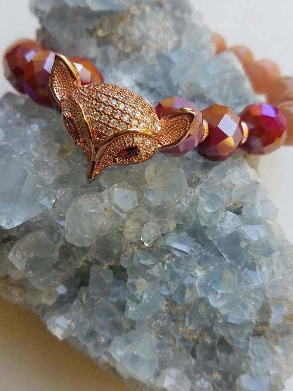 Aurora Earth Fox | Sunstone & Czech glass with rhinestone fox