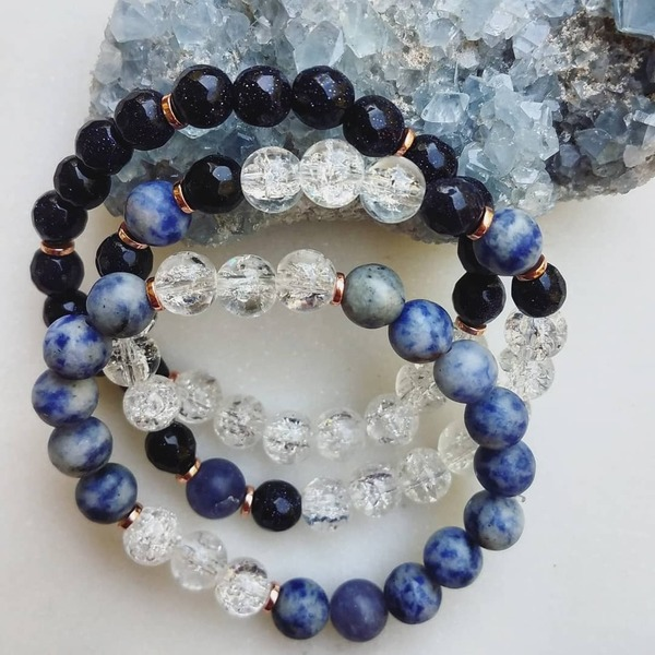 Space II | 3 Piece Navy Goldstone, Sodalite & Crackle Quartz