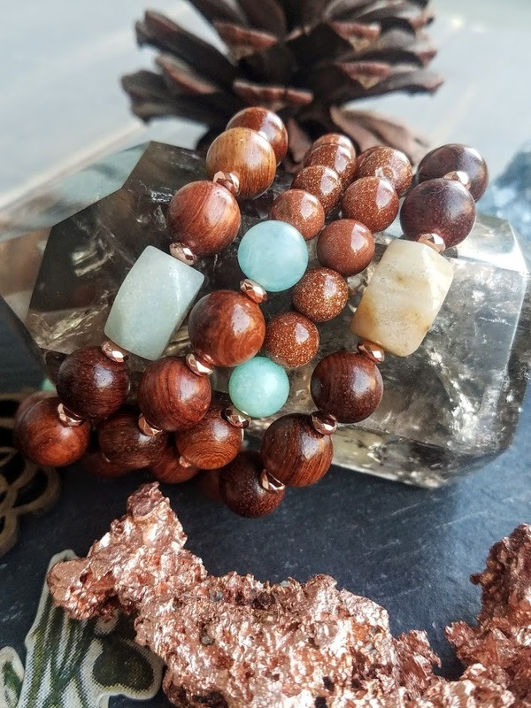 Gold Dust | 1-Piece Wood, Goldstone & Amazonite Stretch Bracelet