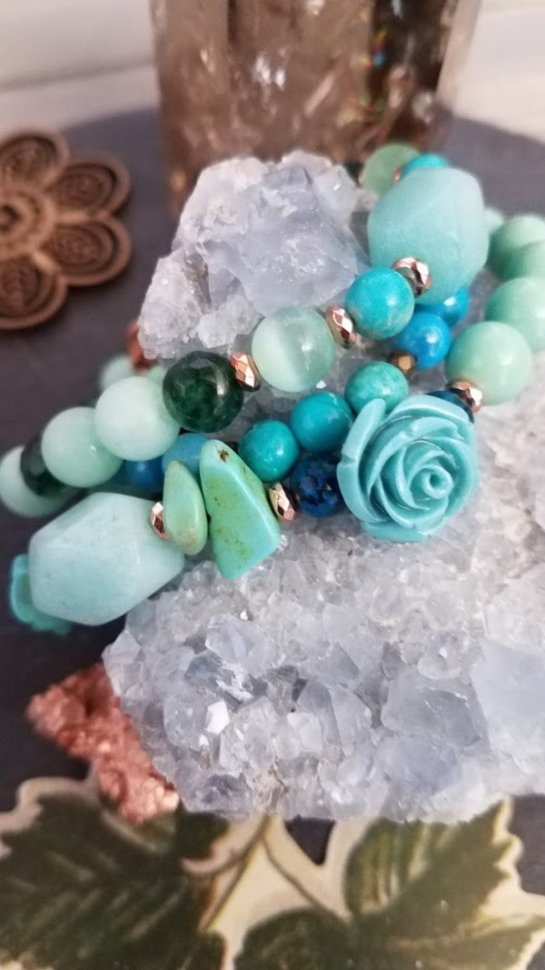 Sonora Desert Rose | 3 piece Amazonite, Turquoise, Agate Stretch Stack Bracelet