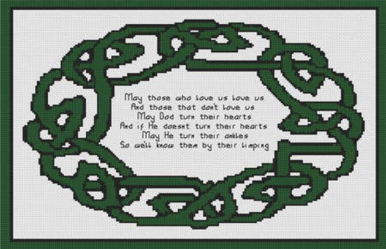 Irish Celtic Blessing Saying Cross Stitch Pattern
