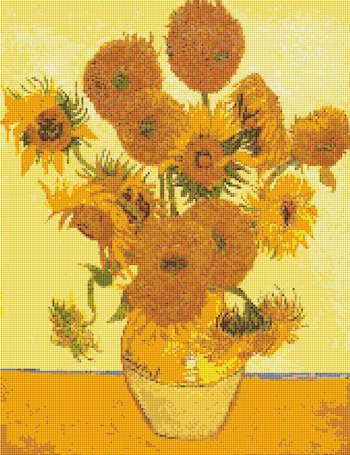 VAN GOGH SUNFLOWERS Cross Stitch Pattern Chart
