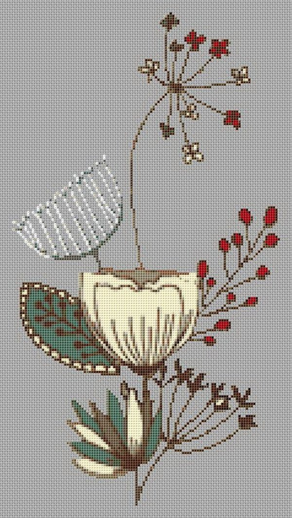 Mid Century Flowers Cross Stitch Pattern Right Facing