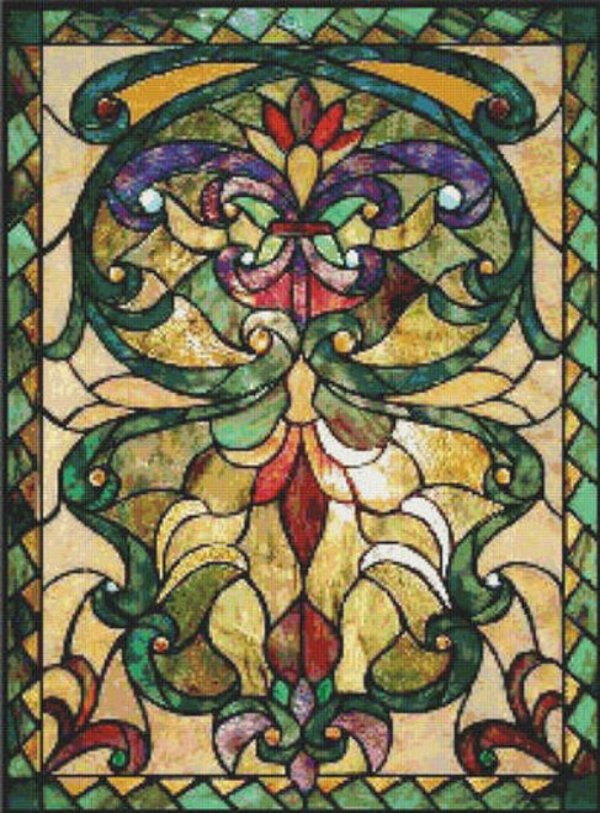 Victorian Stained Glass Cross Stitch Pattern