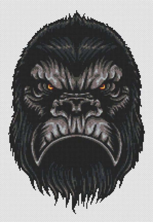 Angry Gorilla Head Cross Stitch Pattern