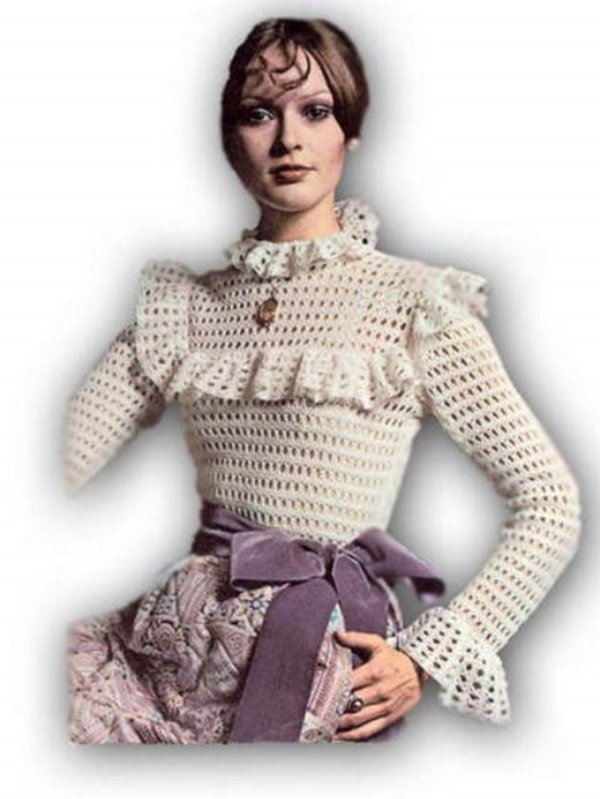 Vintage Crochet Pattern Victoriana Crocheted Blouse