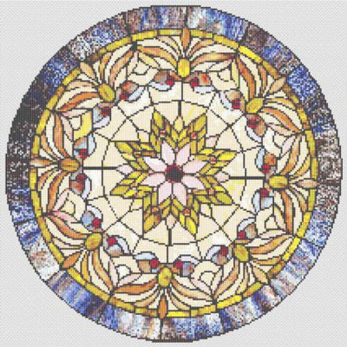 Victorian Stained Glass Round Cross Stitch Pattern