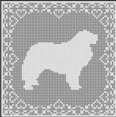 Great Pyrenees Dog Filet Crochet Pattern Picture Afghan