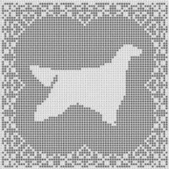 Irish Setter Dog Filet Crochet Pattern Afghan Picture
