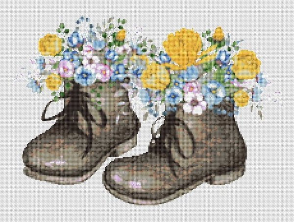 Old Fashioned Pair Boots With Flowers Cross Stitch Pattern