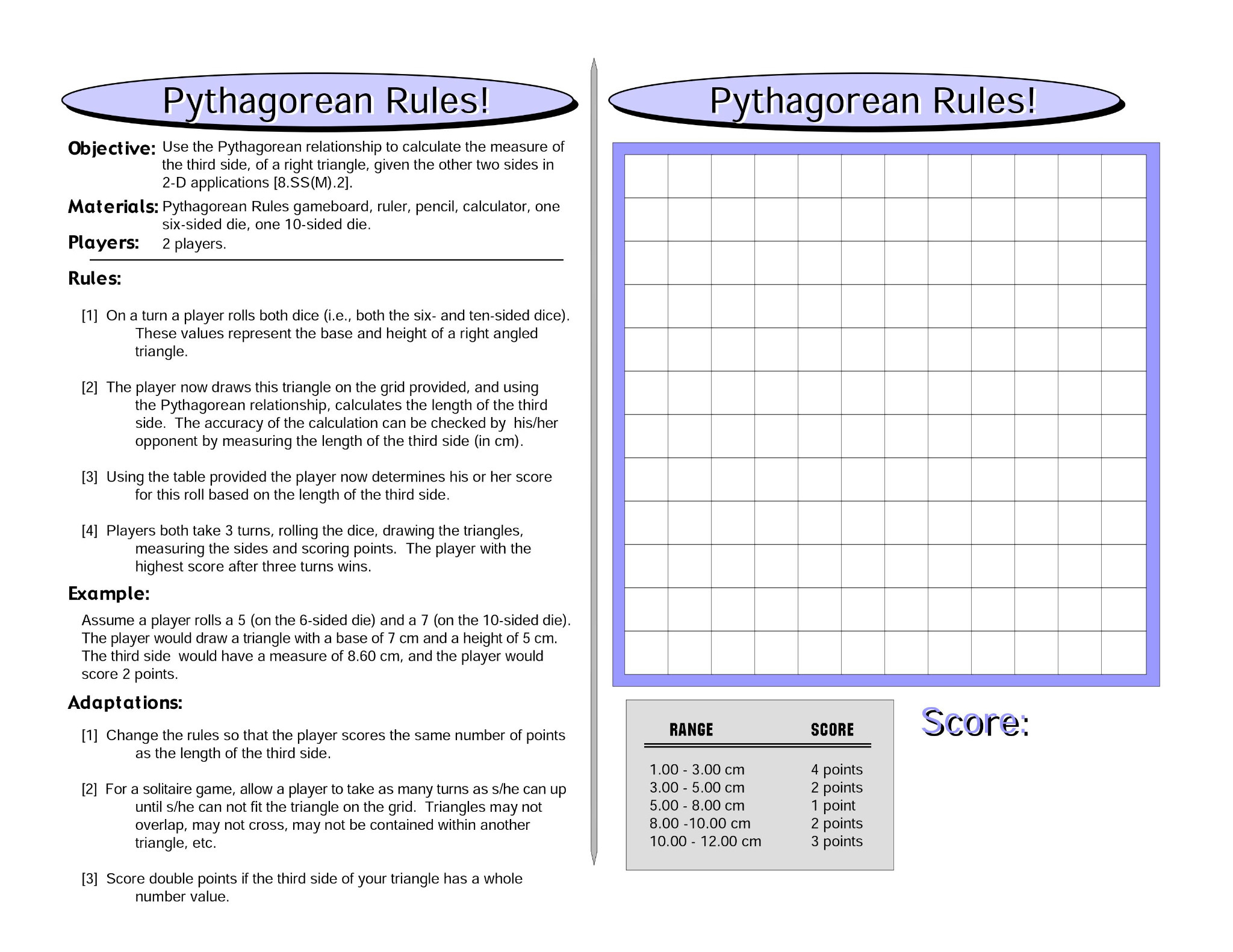 Pythagorean Rules: Pythagorean Theorem Math Game - MathFileFolderGames com