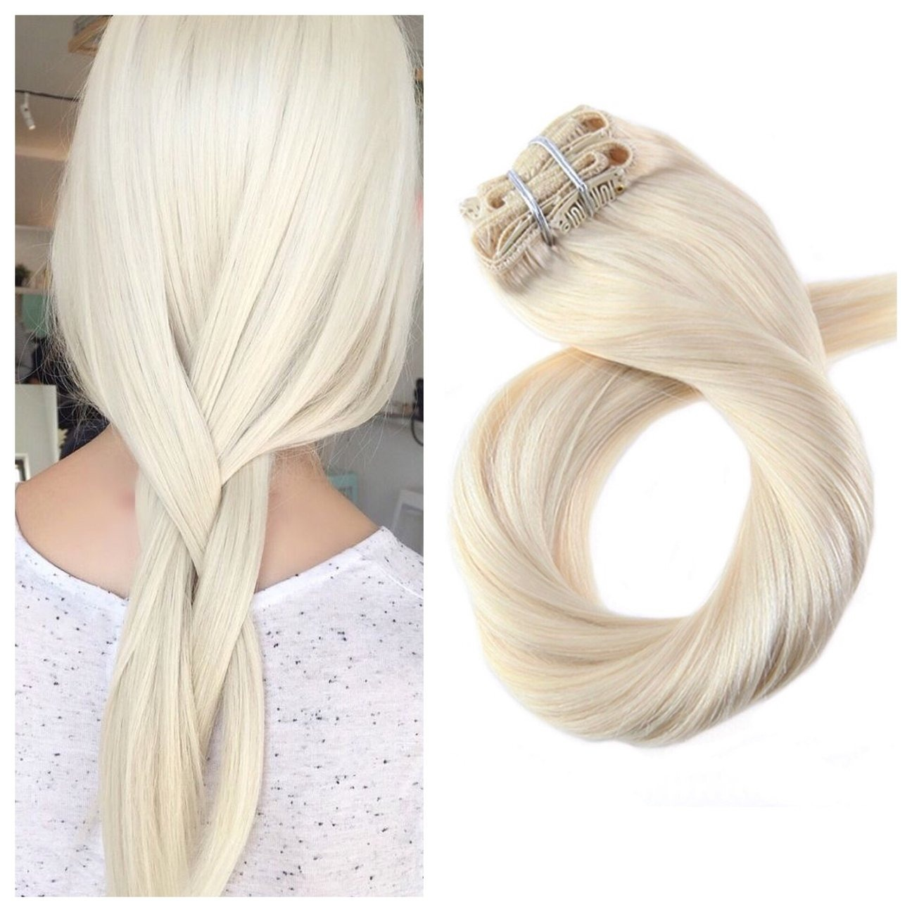 Platinum Blonde Hair Extensions 24 Remy Human Hair 180g Double Weft