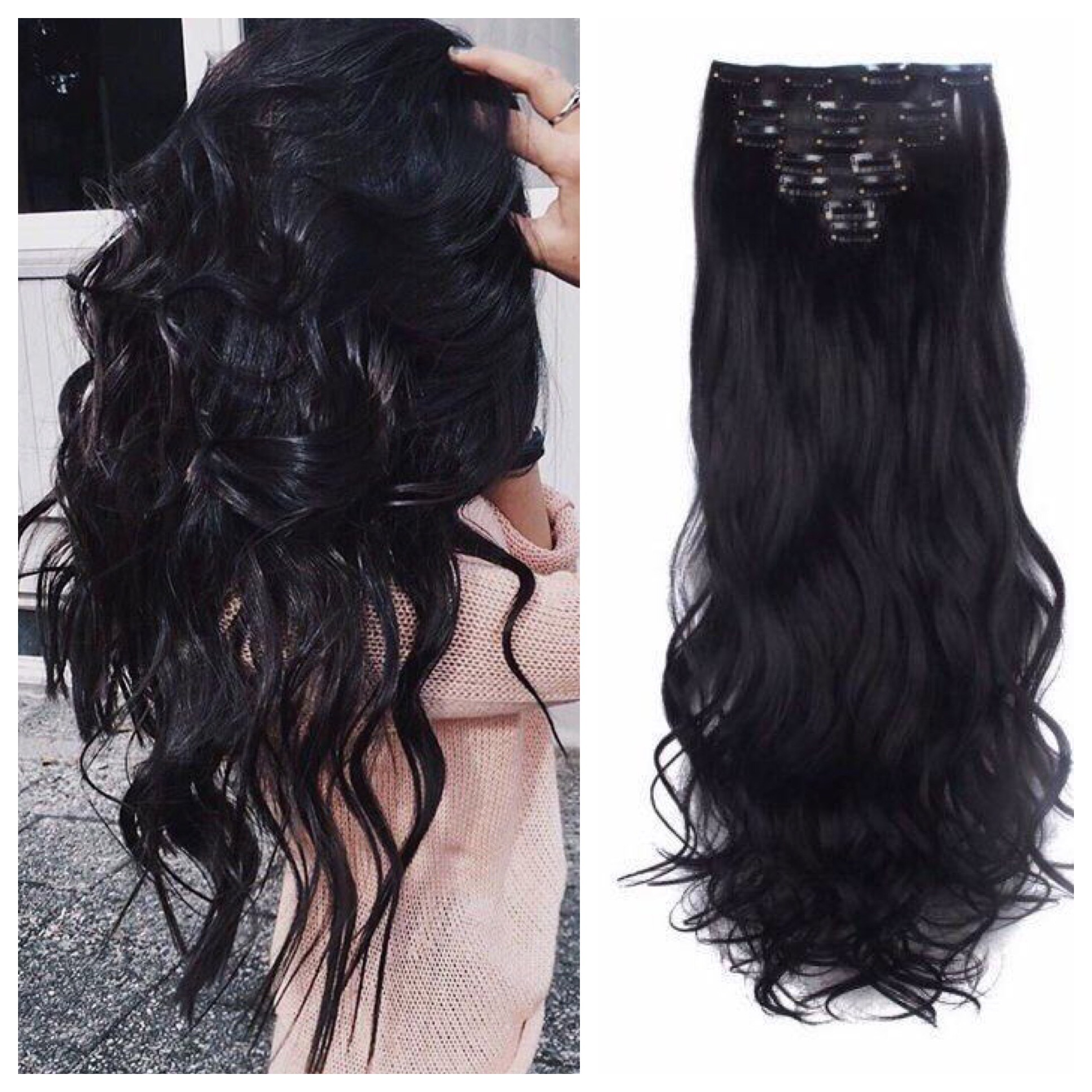 Jet Black Hair Extensions 24 Clip In Hair Weave 185g Curly Wavy