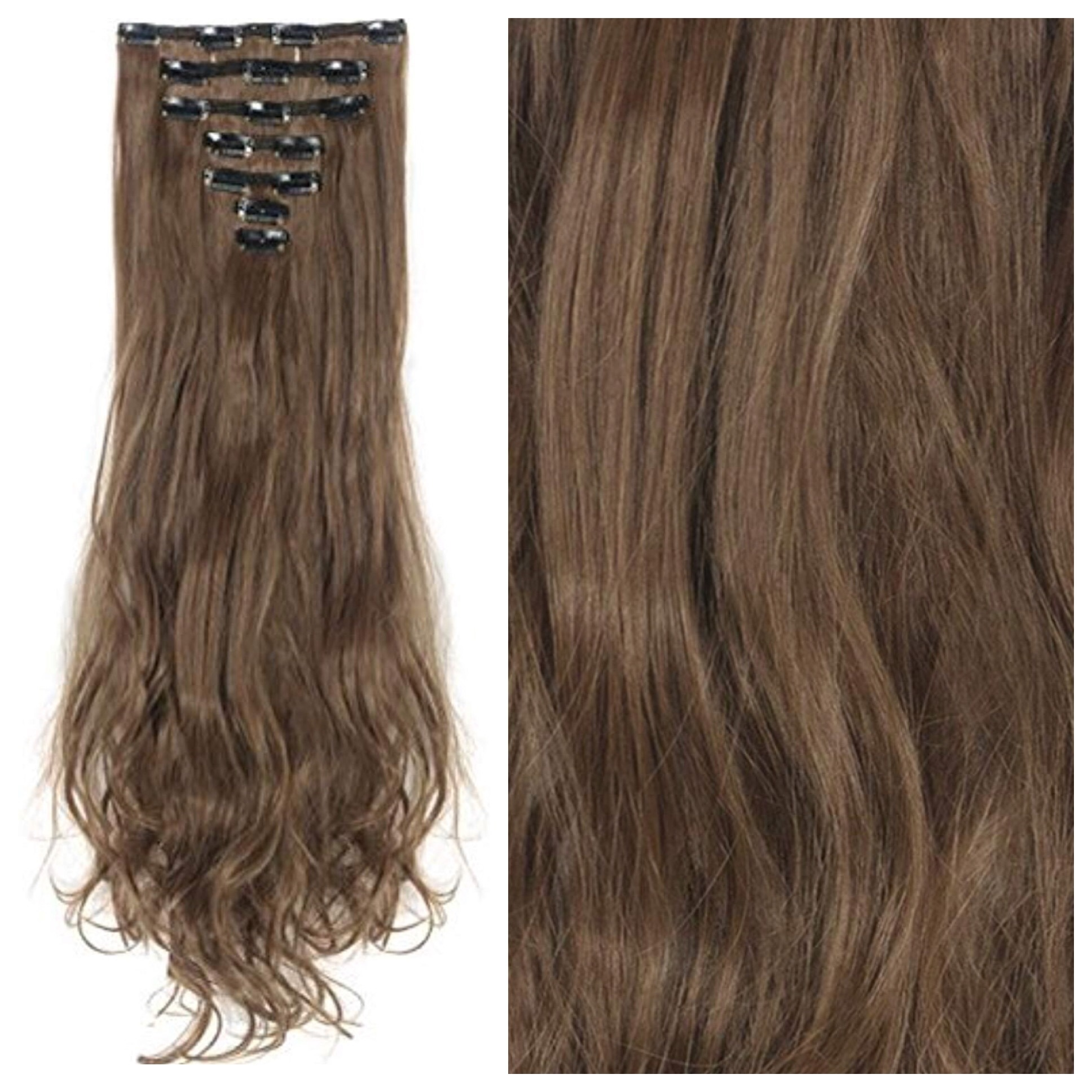 Light Brown Hair Extensions 24 Brunette Clip In Remy Human Hair