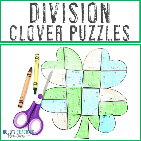 DIVISION Clover Puzzles for 3rd, 4th, or 5th Grade