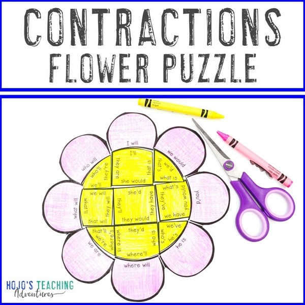 CONTRACTIONS Flower Puzzle for 2nd, 3rd, or 4th Grade