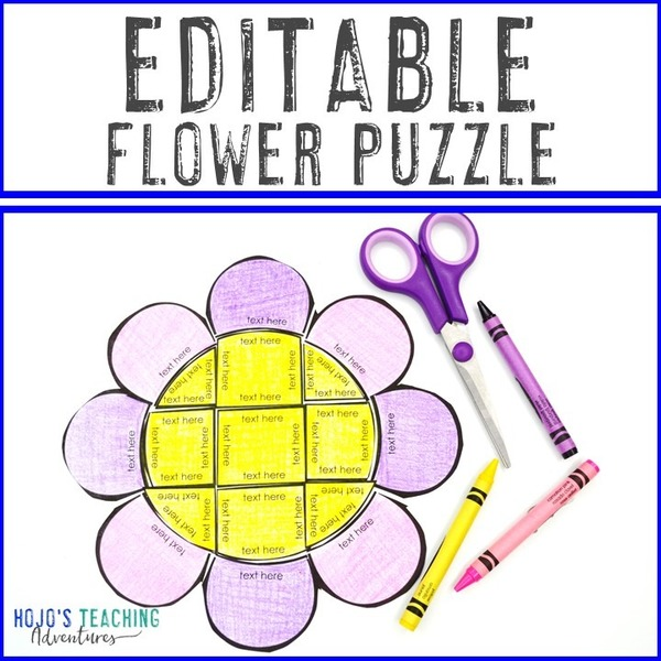 EDITABLE Flower Puzzle for Elementary or Middle School