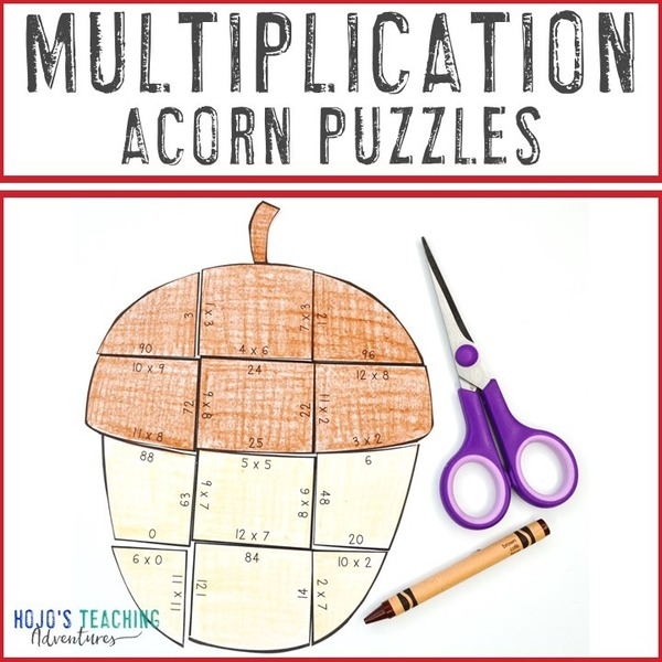 MULTIPLICATION Acorn Puzzles for 3rd, 4th, or 5th Grade