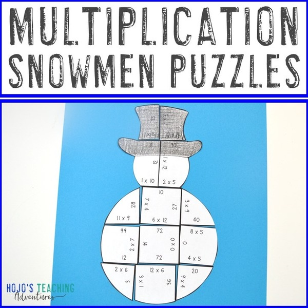 MULTIPLICATION Snowman Puzzles for 3rd, 4th, or 5th Grade