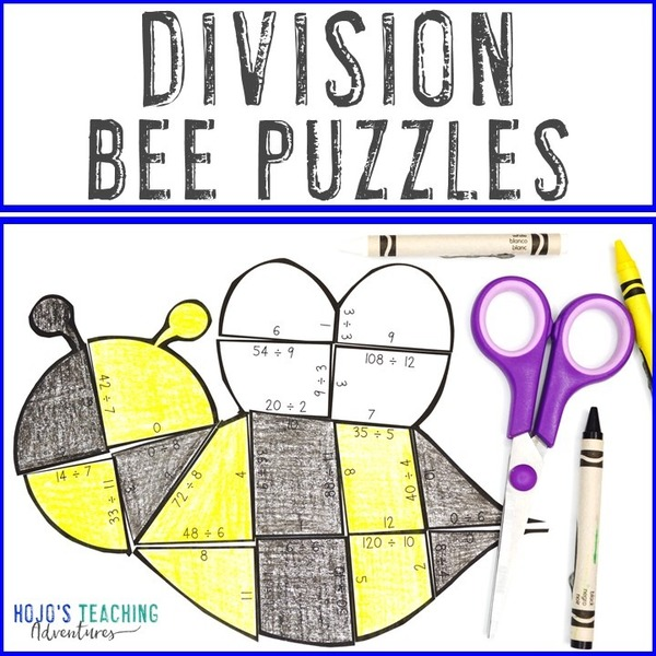 DIVISION Bee Puzzles for 3rd, 4th, or 5th Grade