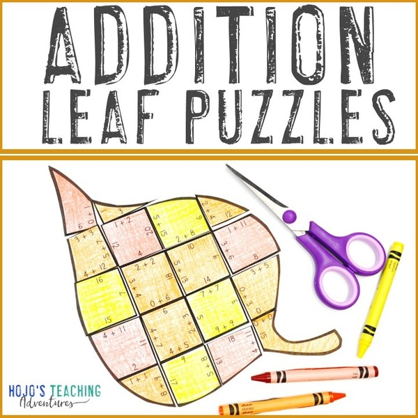 ADDITION Leaf Puzzles for 1st, 2nd, or 3rd Grade
