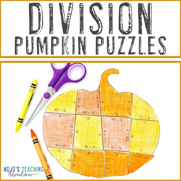 DIVISION Pumpkin Puzzles for 3rd, 4th, or 5th Grade Kids
