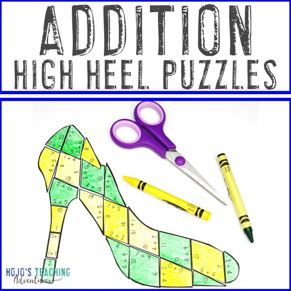 ADDITION High Heel Puzzles for 1st, 2nd, & 3rd Grade