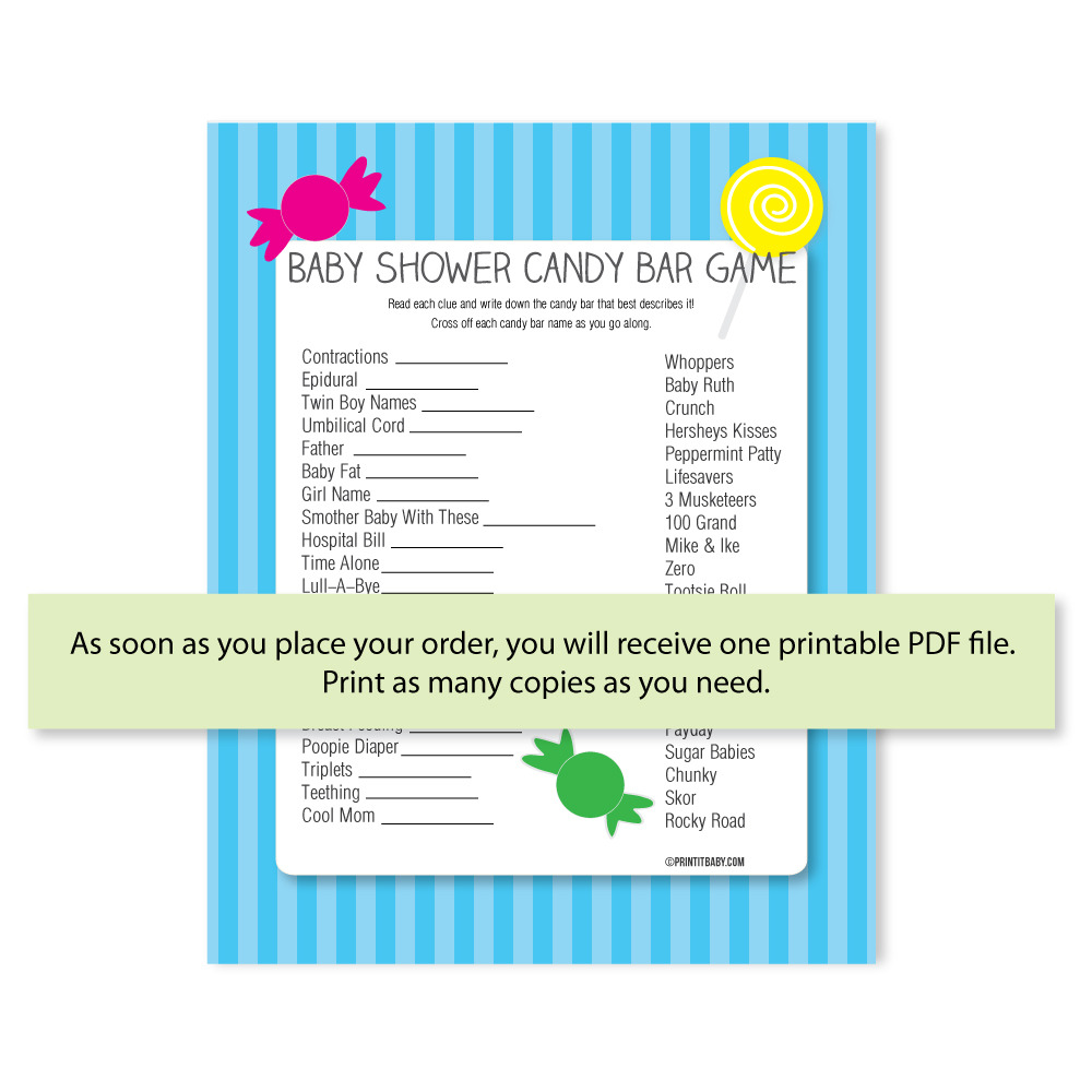 Candy Baby Shower Game: Printable Baby Shower Candy Bar Game