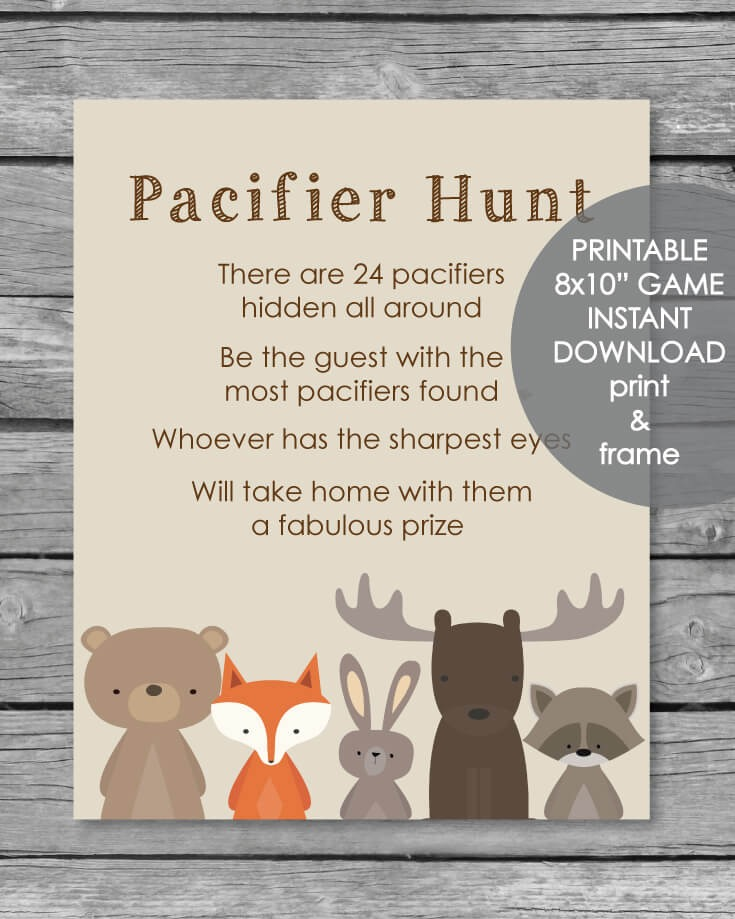Printable Pacifier Hunt Baby Shower Game Sign Woodland