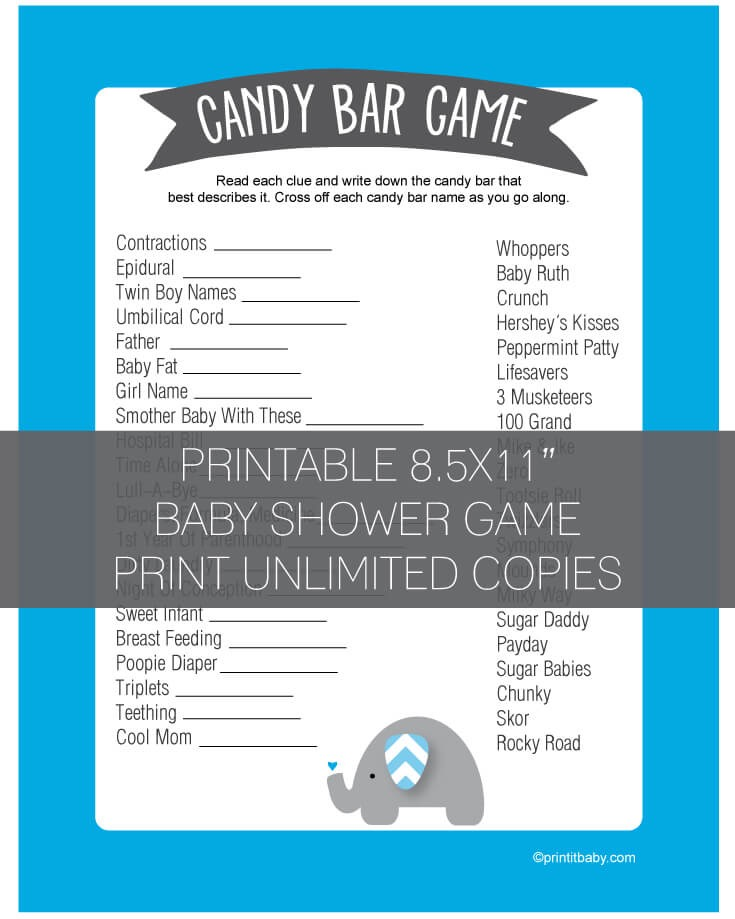 Baby Shower Candy Bar Game Blue Elephant Jungle Theme Print It Baby