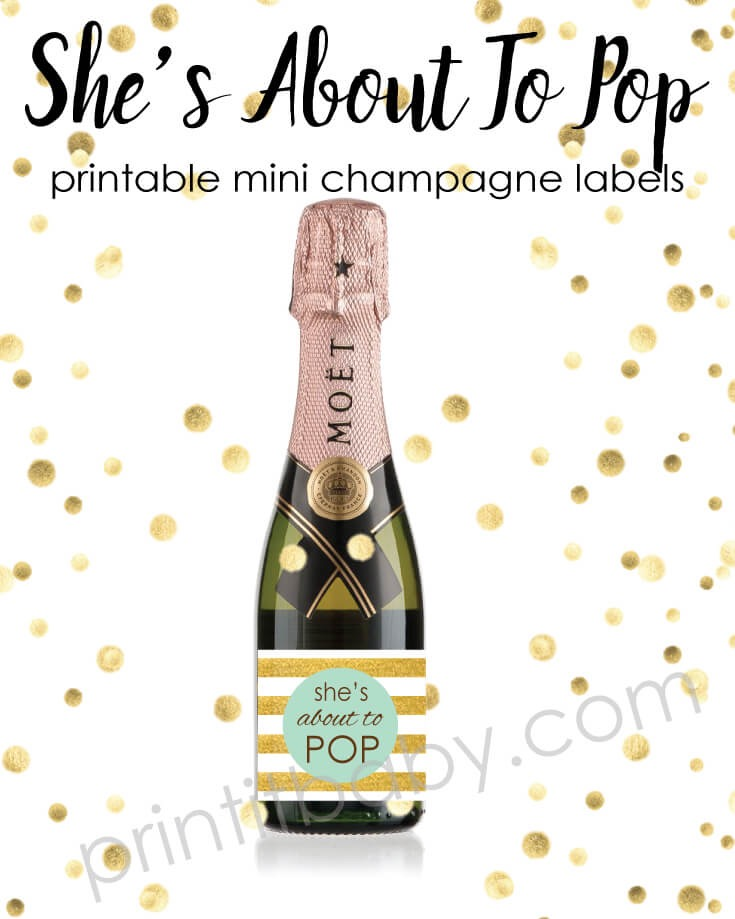 She's About To Pop - Mint Green And Gold Mini Champagne ...