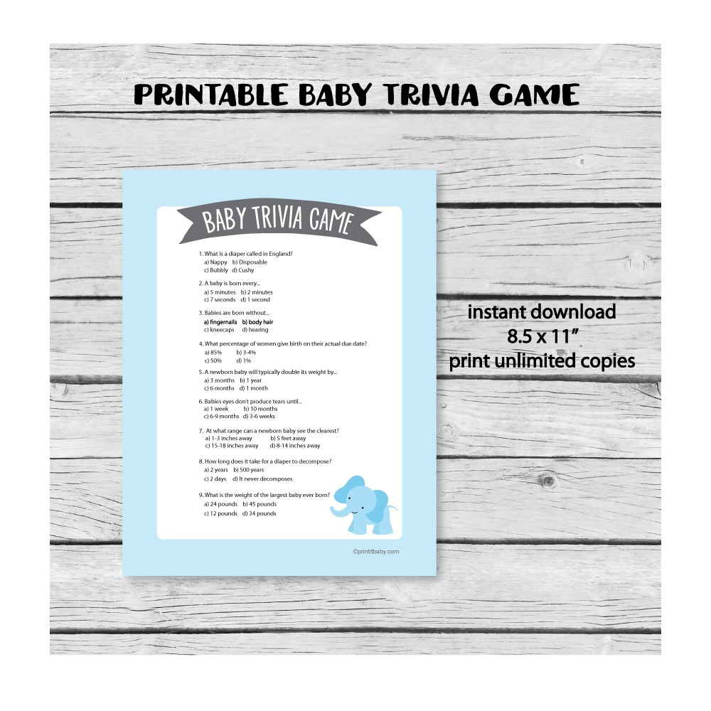 Printable Baby Shower Trivia Game Blue Elephant Theme Print It Baby