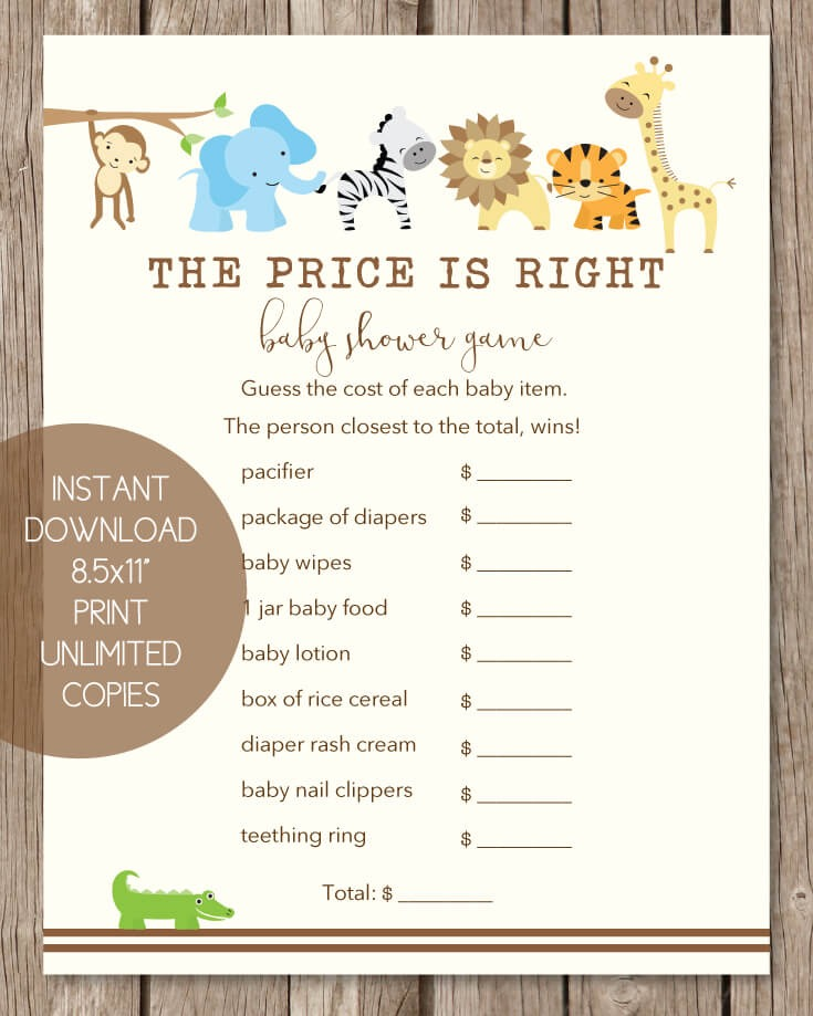 The Price Is Right Baby Shower Game Jungle Theme Print