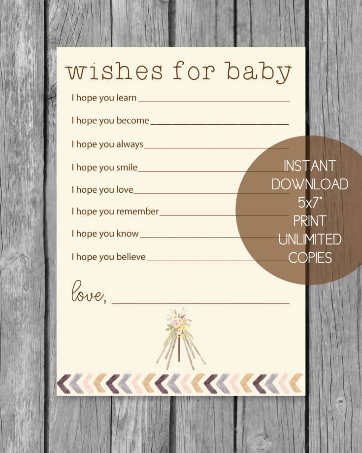 Printable Boho Tribal Well Wishes For Baby Cards Print It Baby