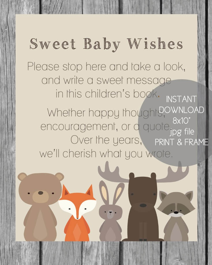 Printable Baby Wishes Book Sign Woodland Animals Theme
