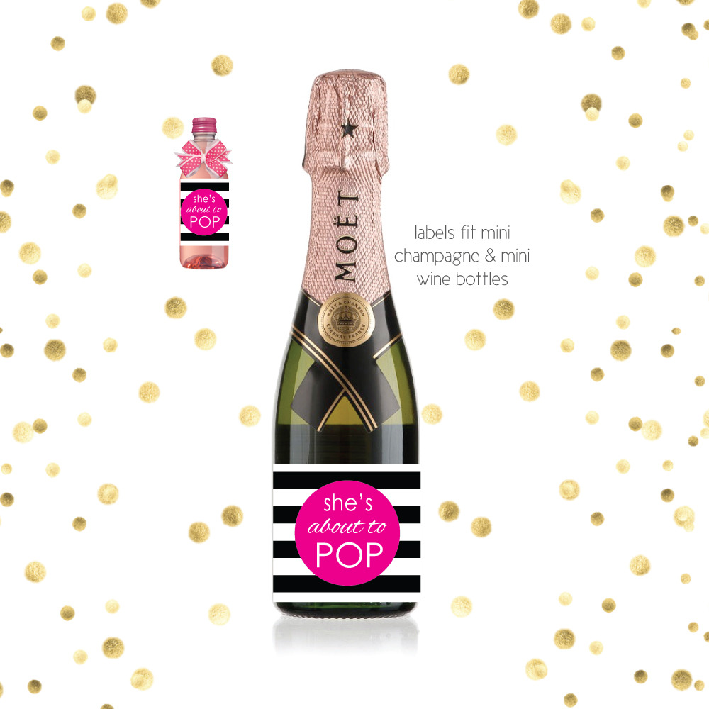 Pink Shes About To Pop Mini Champagne Baby Shower Favor Labels
