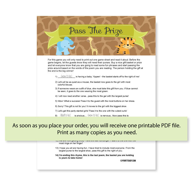 Printable Pass The Prize Game Jungle Baby Shower Theme