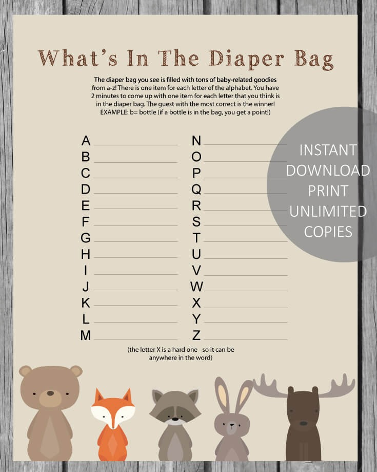 Whatu0027s In The Diaper Bag Baby Shower Game   Woodland Animals Theme   Print  It Baby