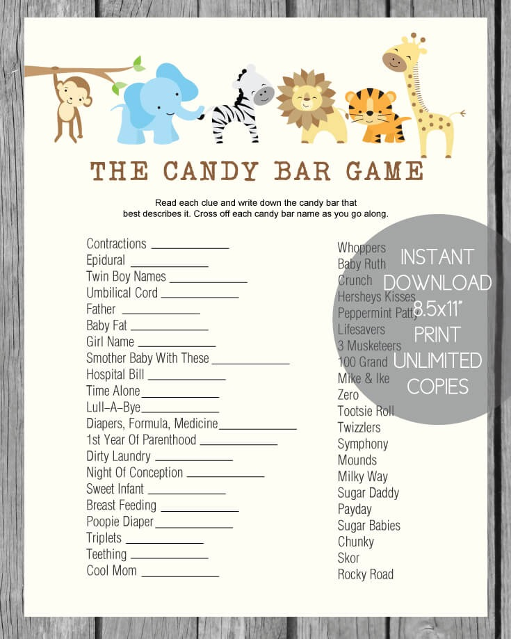 Jungle Baby Shower Candy Bar Game Print It Baby