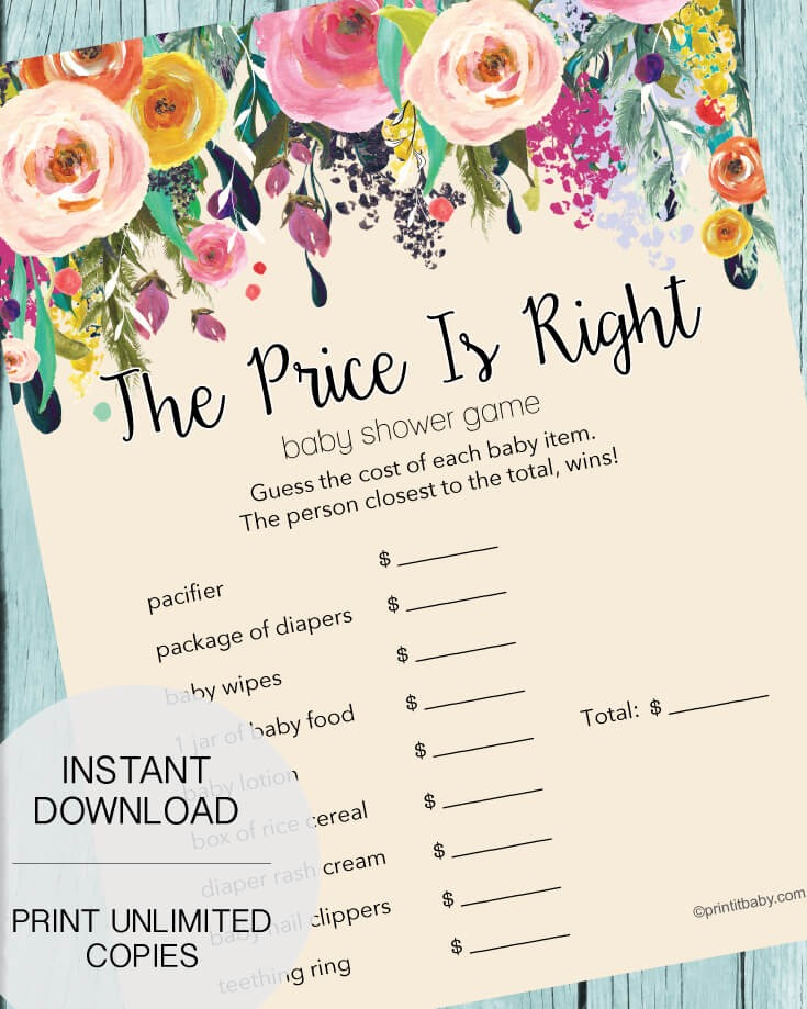 The Price Is Right Baby Shower Game Garden Flowers