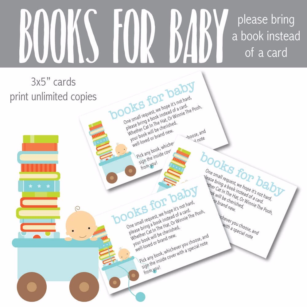 Printable Blue Baby Please Bring A Book Instead Of Card Shower Cards