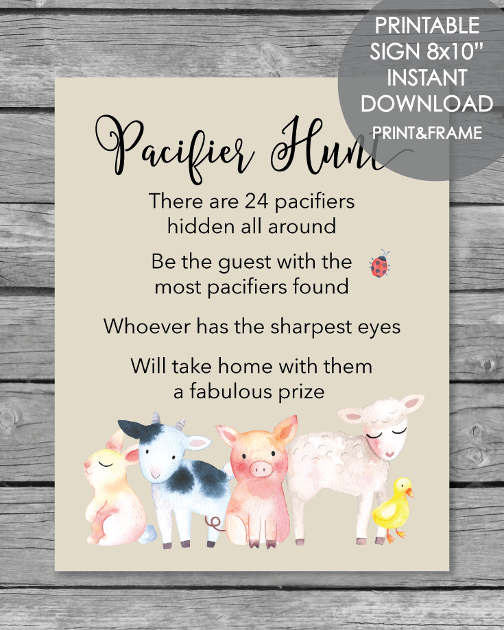Printable Pacifier Hunt Baby Shower Game Sign - Farm ...