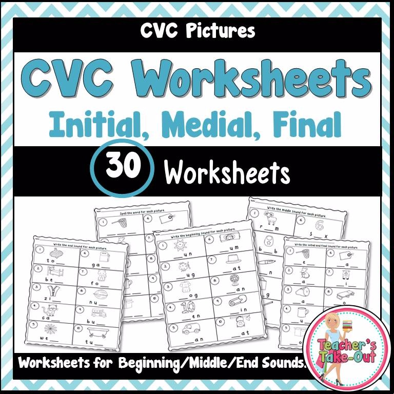 Cvc Worksheets Using Initial Medial And Final Sounds Teachers