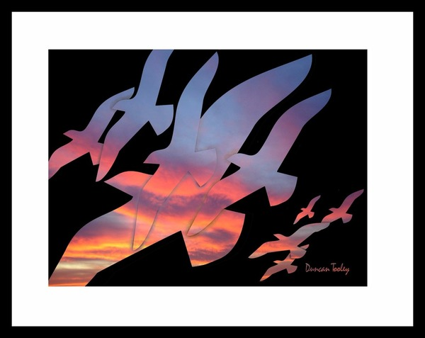 Fractal Sunset Birds Print