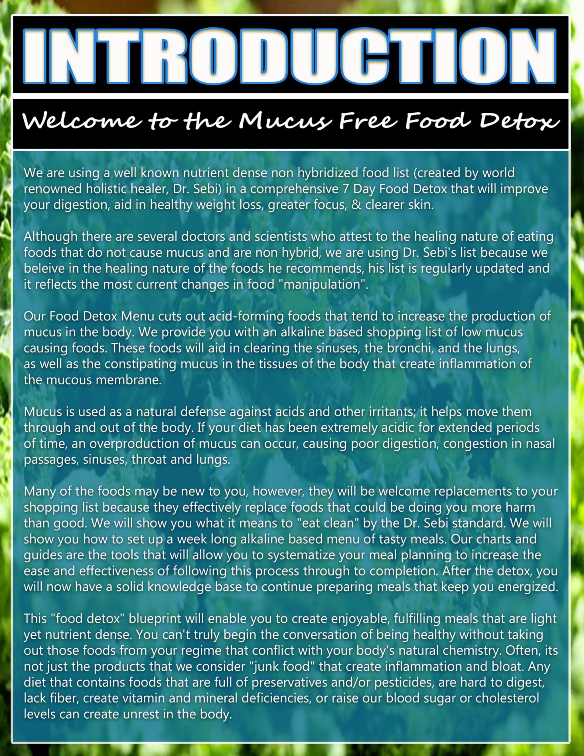 Mucus forming foods list