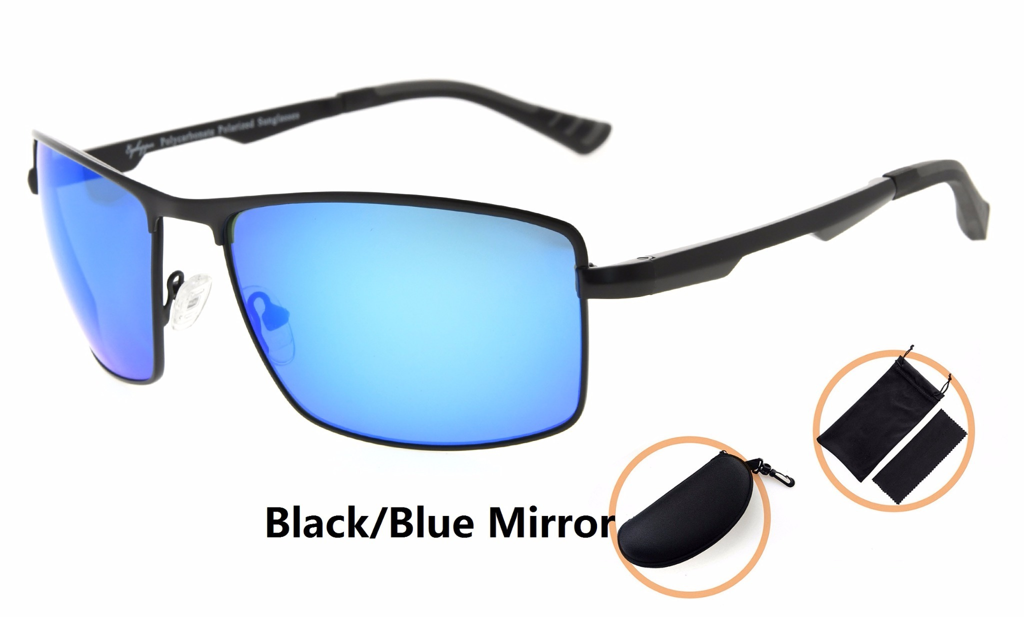 f3d338bea1 Eyekepper Polycarbonate Lens Polarized Sunglasses With Metal Frame Spring  Hinges PCPG802-Mirror Lens