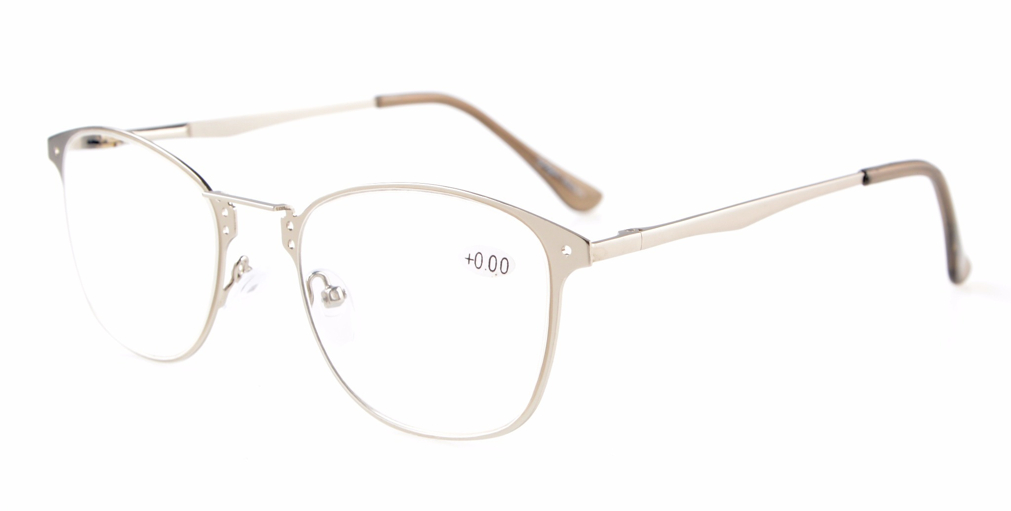 Eyekepper Readers Quality Spring-hinge Retro Eyeglasses R15039-Silver-0.0