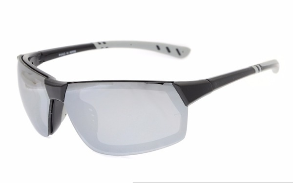 46fffb38f Eyekepper Polycarbonate Polarized TR90 Unbreakable Sport Sunglasses  TH6157-Black/Silver Mirror