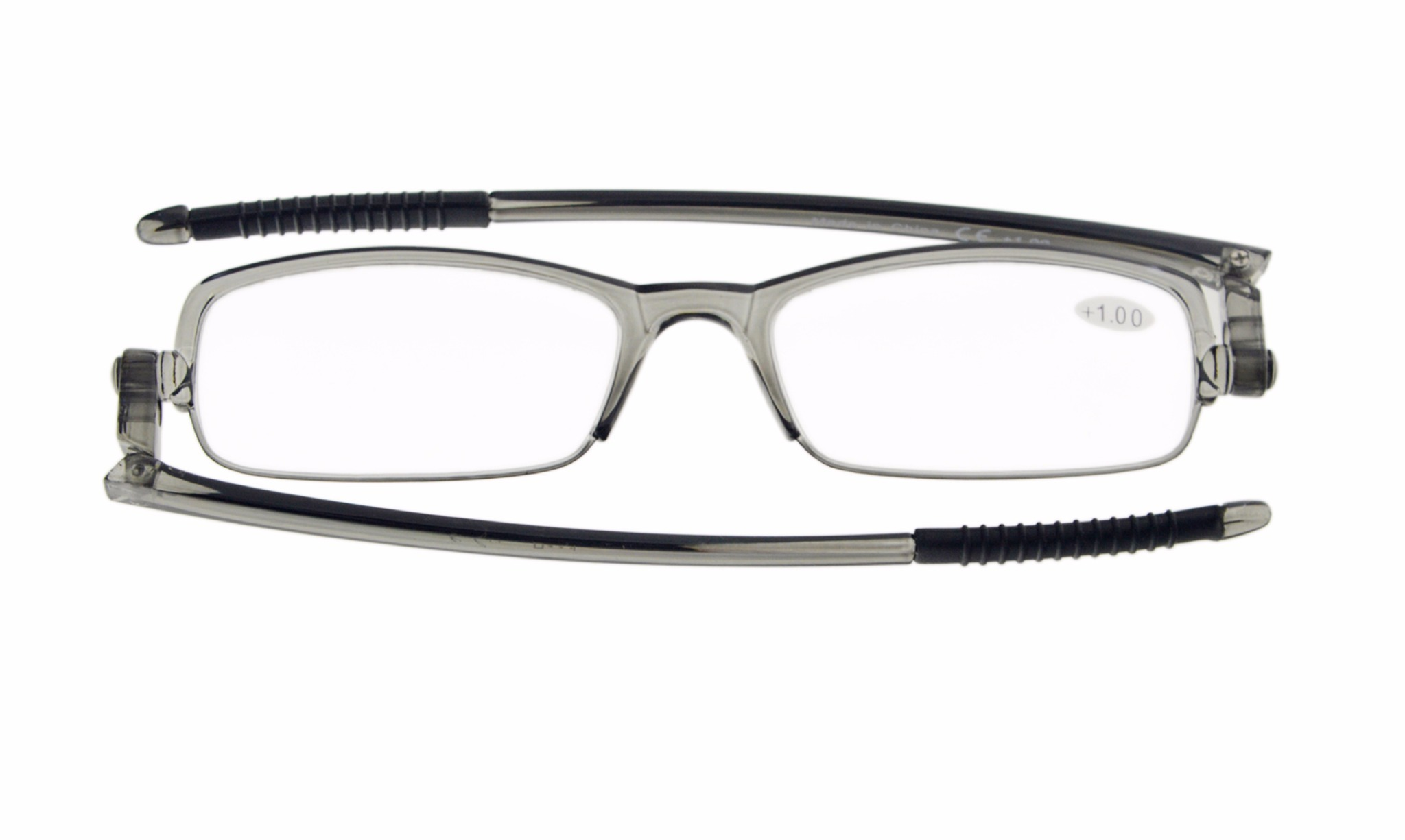 235d04a774a2 Eyekepper 360° Foldable Temples Reading Glasses With Transparent Case Grey  Frame R200-Grey