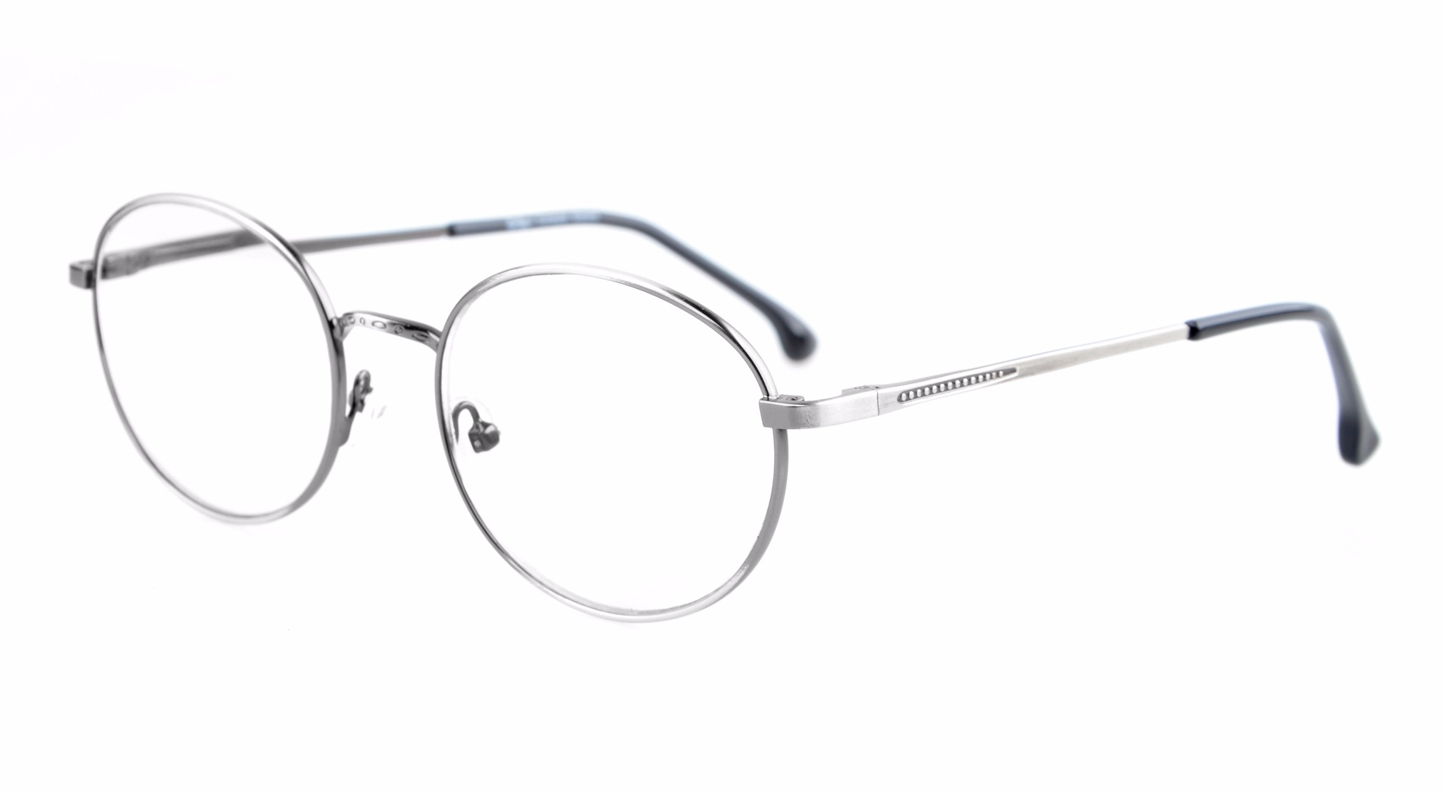 Eyekepper Quality Spring Temples Oval Round Glasses Eyeglasses Frame R1616-Anti Silver-0.0